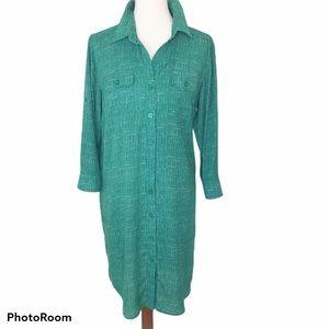 Cabo Green/White Long Sleeve Shirt Dress Large